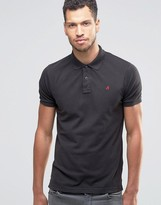 Replay Pique Logo Polo in Black
