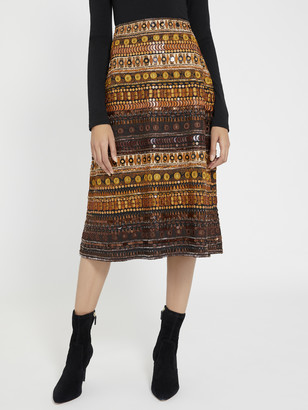 Alice + Olivia Libbie Beaded Midi Skirt