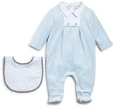 Armani Junior Armani Infant Boys' Velour Footie & Bib Set - Sizes 3-9 Months
