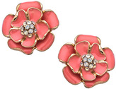 Blu Bijoux Coral Enamel Flower Earrings