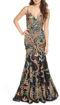 Mac Duggal Women's Butterfly Lace Applique Gown