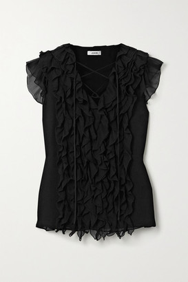 Jason Wu Lace-up Ruffled Silk-georgette Blouse - Black