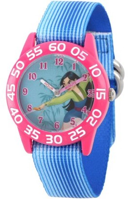Disney Mulan Girls' Pink Plastic Time Teacher Watch, Blue Stripe Stretchy Nylon Strap