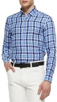 Ermenegildo Zegna Medium-Check Linen Sport Shirt, Blue