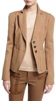 Tom Ford Notch-Lapel Three-Button Fitted Jacket, Sand