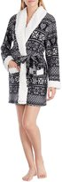 Kensie Heart Fair Isle Micro Fleece Wrap Robe