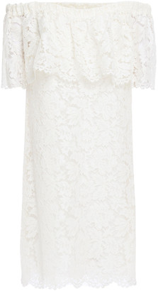 Valentino Off-the-shoulder Cotton-blend Corded Lace Mini Dress