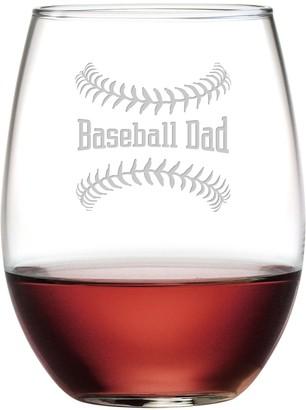 Susquehanna Glass Baseball Dad Stemless Wine Tumbler with Gift Box 21 oz