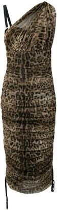 Dolce & Gabbana Leopard Print Ruched Dress