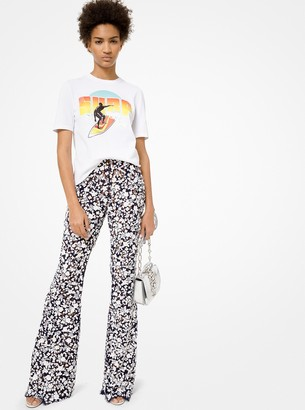 Michael Kors Embroidered Floral Lace Flared Pants