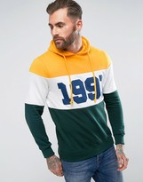 Pull&Bear Retro Logo Panel Hoodie In Green