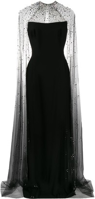 Jenny Packham Pearle embellished cape gown
