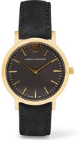Larsson & Jennings Lugano Suede And Gold-plated Watch - Black