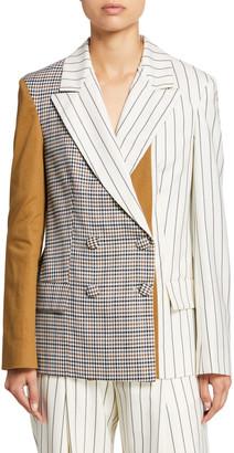 Oscar de la Renta Patchwork Silk Blazer Jacket