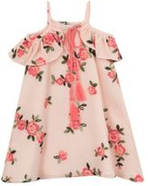 Rare Editions Girls Floral Embroidered Gauze Dress