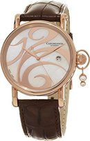 Chronoswiss Swing Women's Brown Leather Strap Mother of Pearl Dial Rose Gold Automatic Swiss Diamond Watch CH-2821LLR-SW 1