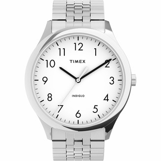 Timex Men's Modern Easy Reader 40mm Watch Silver-Tone Case White Dial with Expansion Band