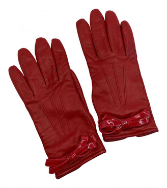 Valentino Red Leather Gloves