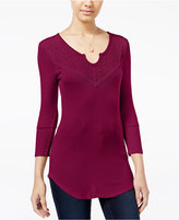 Almost Famous Juniors' Lace-Back Waffle-Knit Top