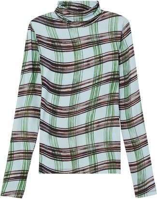 Proenza Schouler White Label Plaid Stretch Cotton Jersey Top