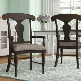 Lark Manor Ornithogale Upholstered Queen Anne Back Arm Chair (Set of 2