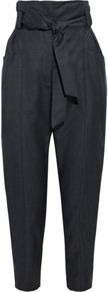 IRO Paxi Belted Pleated Wool-twill Tapered Pants