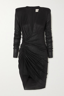 Alexandre Vauthier Ruched Ribbed Lame Mini Dress - Black