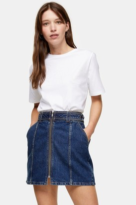 Topshop Womens Considered Mid Blue Denim Skirt With Front Zip With Recycled Cotton - Mid Stone