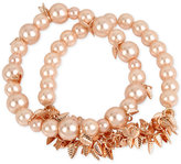 INC International Concepts M. Haskell for 2-Pc. Set Imitation Pearl and Shaky Leaf Stretch Bracelets, Only at Macy's