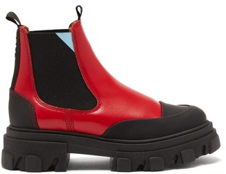 Ganni Exaggerated-sole Leather Chelsea Boots - Red