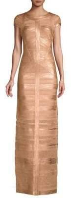 Herve Leger Women's Cap Sleeve Foil& Knit Column Gown - Gold - Size Large