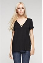 B-Sharp Collection Women's Solid Black Top Tanboocel Bamboo Tunic Short Sleeve Deep V-neck Open Keyhole.