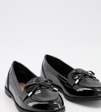 New Look Wide Fit patent faux leather loafers in black