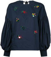 Muveil embellished puff-sleeve blouse - women - Cotton - 36