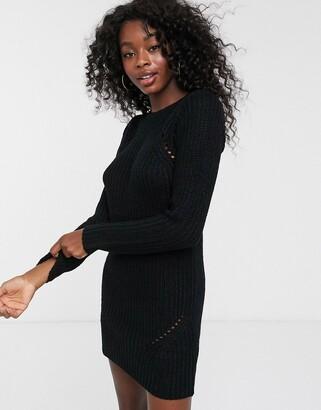 Brave Soul pointelle jumper dress in black