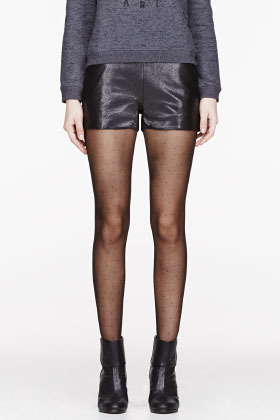 J Brand READY TO WEAR Black Leather snakeskin Tullia shorts