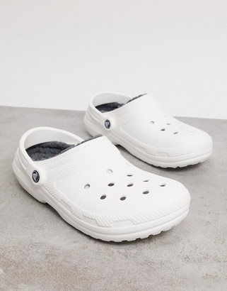 Crocs classic fur-lined clogs in white and grey