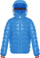 Moncler Albericlaque Quilted Hooded Puffer Jacket w/ Flag Trim, Size 8-14