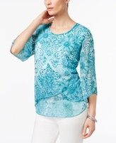 JM Collection Petite Floral-Print Three-Quarter-Sleeve Top, Created for Macy's