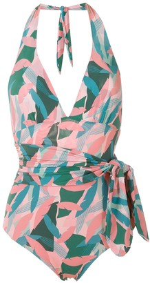 Track & Field Abstrata print TF Power swimsuit