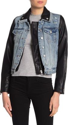 Blanknyc Denim Denim & Faux Leather Moto Jean Jacket