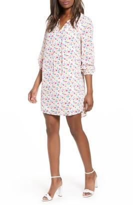 Gibson Holly Split Neck Shirt Dress (Regular & Petite)