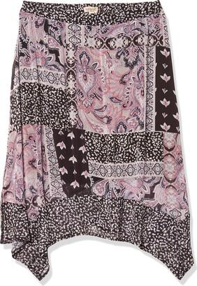 One World ONEWORLD Women's Pull on Printed Handkerchief Hem Skirt