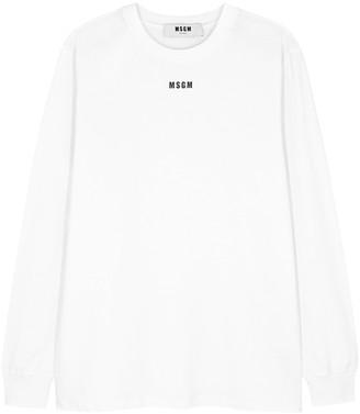 MSGM White Printed-logo Cotton Top