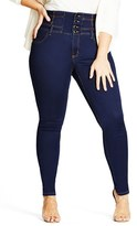 City Chic Plus Size Women's Harley Corset Waist Stretch Skinny Jeans