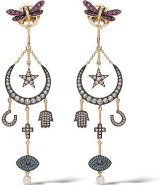 Annoushka 18kt yellow gold Love Diamonds Lunar diamond earrings