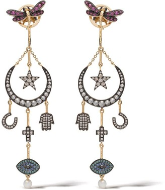 Annoushka 18kt yellow gold Love Diamonds Lunar diamond earrings