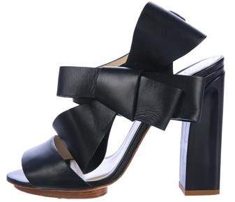 DELPOZO Leather Bow Sandals