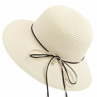 EUCoo Women's Foldable Straw Summer Beach Hat Anti-UV Sun Hat Cotton Wide Brim Visor Packable for Travel - White - One size