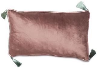 Bivain Grey Velvet Rectangular Cushion With Tassels